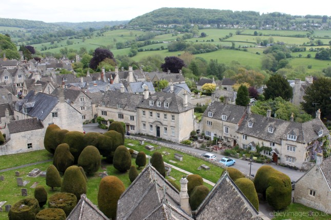 East side of churchyard from St Mary's tower, Painswick