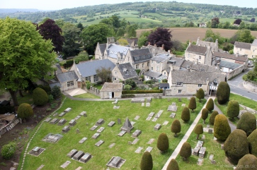 West side of churchyard from St Mary's tower, Painswick