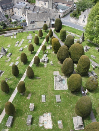 Lych gate and yews from St Mary's tower, Painswick